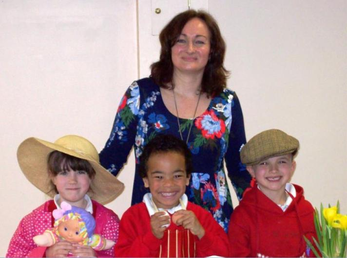 Wendy with children Wendy with children from Ysgol-y-Dderwen dressed as Nain, Emry Rhys and Da-cu