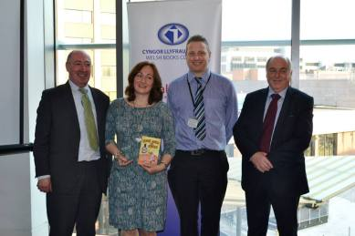 Elwyn Jones (Welsh Books Council), Wendy White, Cardiff Councillor Peter Bradbury - Tir na n-Og 2014 award