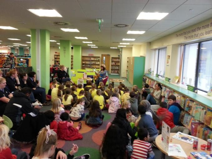 Reading to Brownies at Swansea Library
