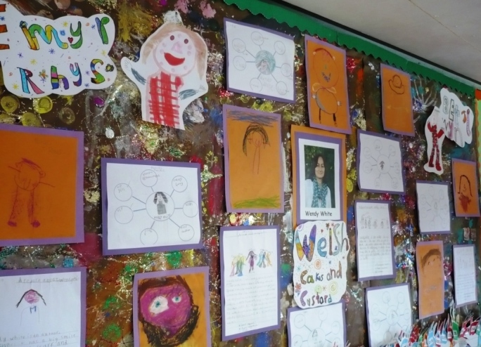 A great 'Welsh Cakes and Custard' wall display by Year 2, Ysgol-y-Castell, Kidwelly