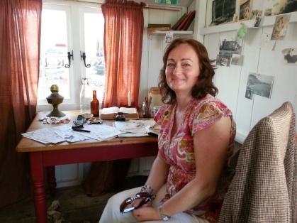 Wendy in Dylan's Writing Shed - Royal Welsh