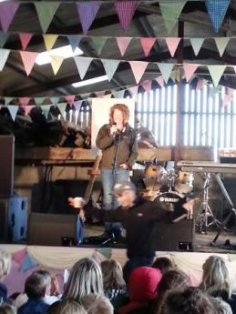 Kate Humble on the Lambing Shed stage
